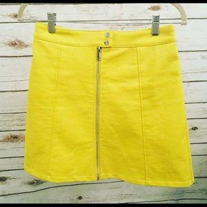 ZARA Lemon Yellow Faux Leather Skirt🎉
